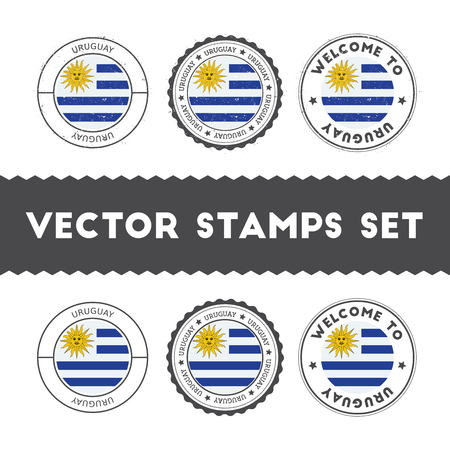 Uruguayan flag rubber stamps set. National flags grunge stamps. Country round badges collection.