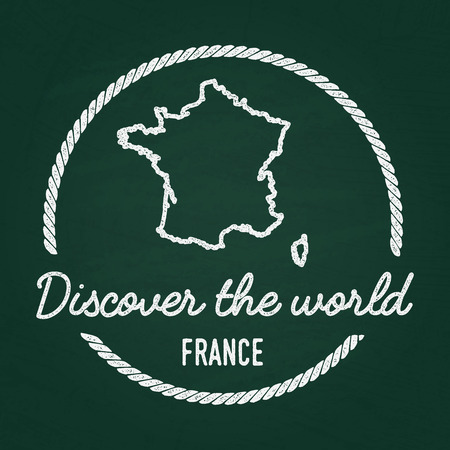 White chalk texture hipster insignia with French Republic map on a green blackboard. Grunge rubber seal with country outlines, vector illustration. Stock Illustratie