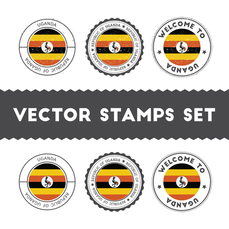 Ugandan flag rubber stamps set. National flags grunge stamps. Country round badges collection.