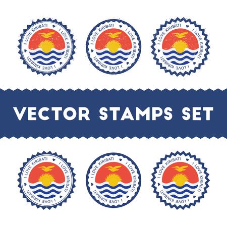 I Love Kiribati vector stamps set.
