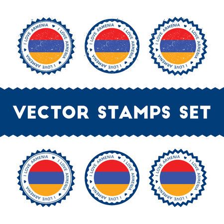 I Love Armenia vector stamps set.