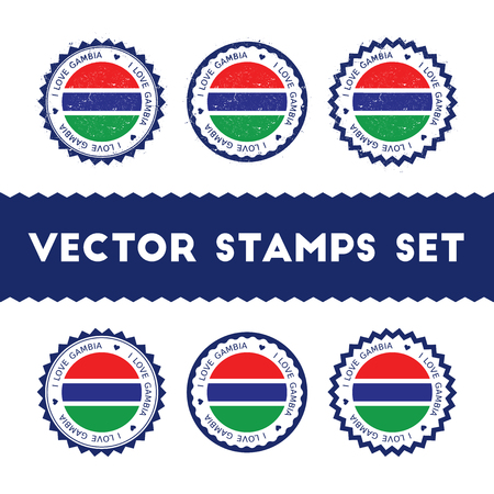 I Love Gambia vector stamps set. Retro patriotic country flag badges. National flags vintage round signs. Illustration