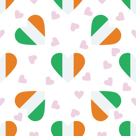 Ireland independence day seamless pattern. Patriotic background with country national flag in the shape of heart Vector illustration.