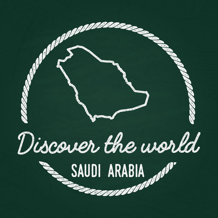 White chalk texture hipster insignia with Kingdom of Saudi Arabia map on a green blackboard. Illustration