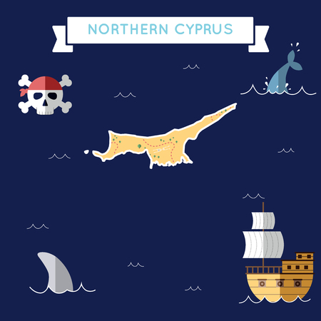 Flat treasure map of Northern Cyprus. Colorful cartoon with icons of ship, jolly roger, treasure chest and banner ribbon. Flat design vector illustration.