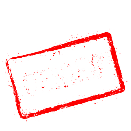 Denied red rubber stamp isolated on white background. Grunge rectangular seal with text, ink texture and splatter and blots, vector illustration.