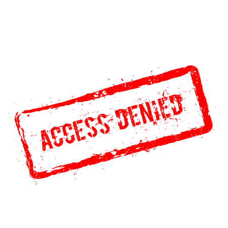 Access denied red rubber stamp isolated on white background. Grunge rectangular seal with text, ink texture and splatter and blots, vector illustration.