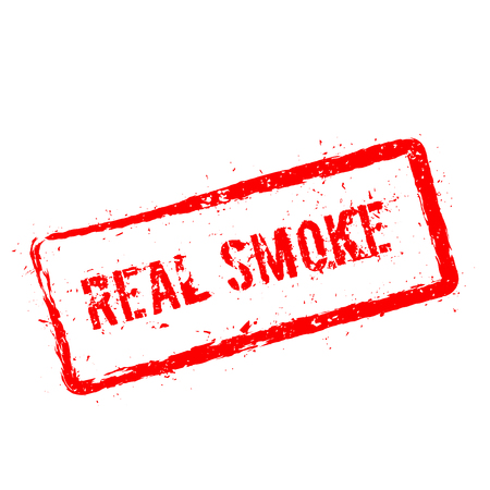 Real smoke red rubber stamp isolated on white background. Grunge rectangular seal with text, ink texture and splatter and blots, vector illustration.