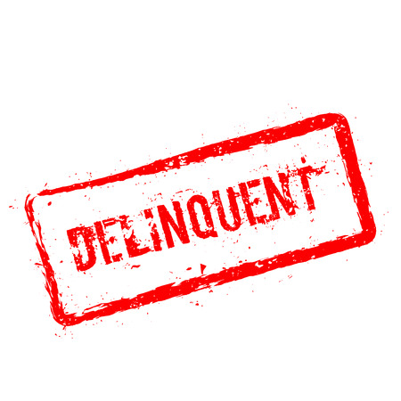 Delinquent red rubber stamp isolated on white background. Grunge rectangular seal with text, ink texture and splatter and blots, vector illustration.