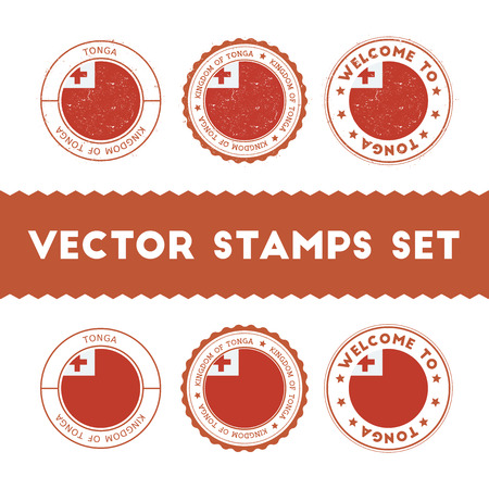 Tongan flag rubber stamps set. National flags grunge stamps. Country round badges collection. Illustration