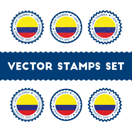 I Love Colombia vector stamps set. Retro patriotic country flag badges. National flags vintage round signs. Çizim