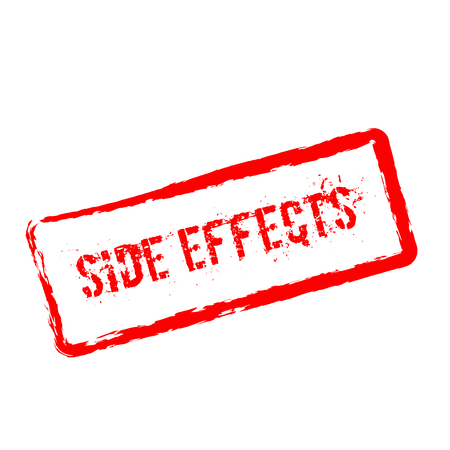Side effects red rubber stamp isolated on white background. Grunge rectangular seal with text, ink texture and splatter and blots, vector illustration. Stock Illustratie