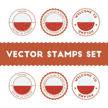 Polish flag rubber stamps set. National flags grunge stamps. Country round badges collection. Vektoros illusztráció