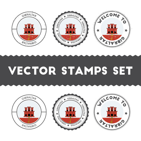 Gibraltar flag rubber stamps set. National flags grunge stamps. Country round badges collection. Illustration