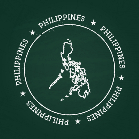 White chalk texture rubber seal with Republic of the Philippines map on a green blackboard. Grunge rubber seal with country outlines, vector illustration. Illustration