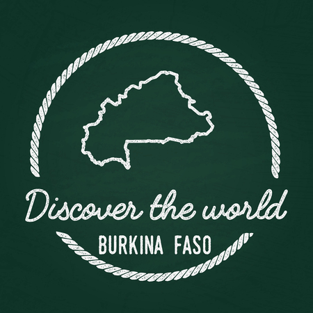 White chalk texture hipster insignia with Burkina Faso map on a green blackboard. Grunge rubber seal with country outlines, vector illustration.