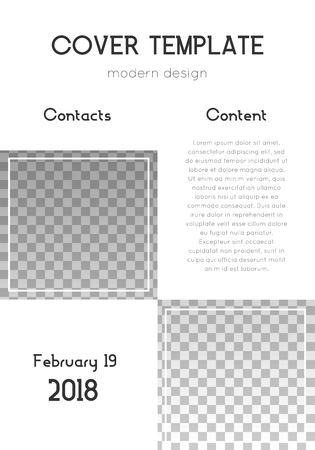 Brochure template design. Modern cover page layout. Energetic trendy poster design. Minimalistic corporate brochure template. Vector illustration on transparent background. Vettoriali