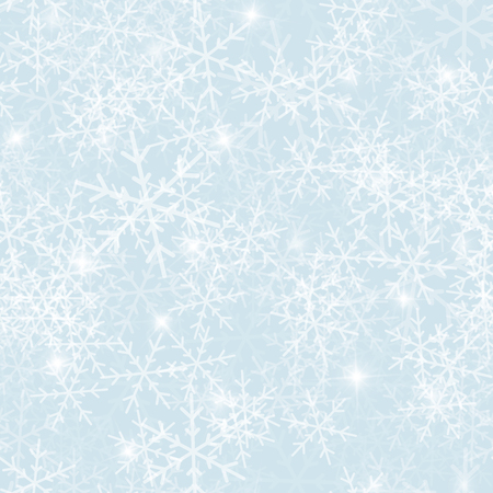 Magic snowflakes seamless pattern on light blue Christmas background. Chaotic scattered magic snowflakes. Ideal Christmas creative pattern. Vector illustration. Vectores