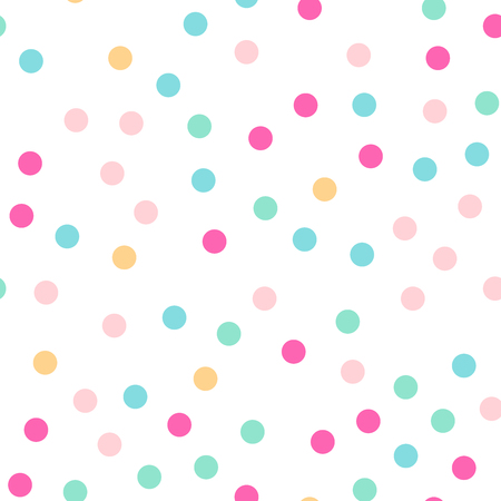 Colorful polka dots seamless pattern on white  background. Sightly classic colorful polka dots textile pattern. Seamless scattered confetti fall chaotic decor. Abstract vector illustration.