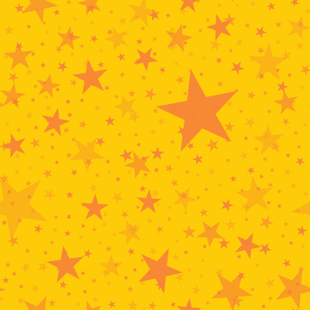 Orange stars seamless pattern on yellow background. Shapely endless random scattered orange stars festive pattern. Modern creative chaotic decor. Vector abstract illustration.