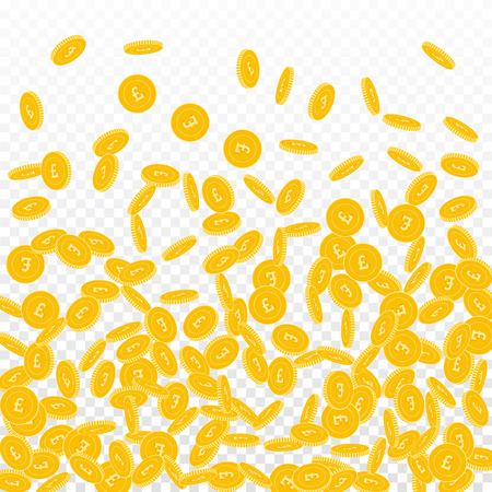 British pound coins falling. Scattered small GBP coins on transparent background. Lively bottom gradient vector illustration. Jackpot or success concept.