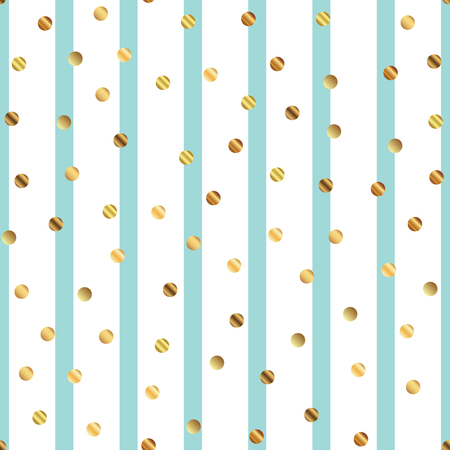 Golden dots seamless pattern on blue striped background. Cool gradient golden dots endless random scattered confetti on blue striped background. Confetti fall chaotic decor. Modern creative pattern.