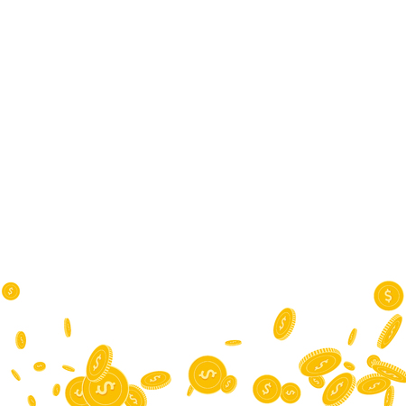 American dollar coins falling. Scattered disorderly USD coins on white background. Radiant abstract bottom vector illustration. Jackpot or success concept. Illustration