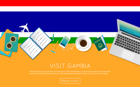 Visit Gambia concept for your web banner or print materials. Top view of a laptop, sunglasses and coffee cup on Gambia national flag. Flat style travel planninng website header.