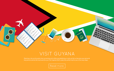Visit Guyana concept for your web banner or print materials. Top view of a laptop, sunglasses and coffee cup on Guyana national flag. Flat style travel planning website header.