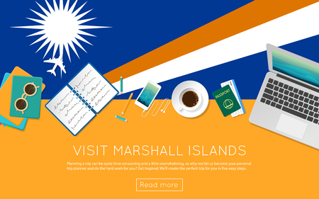 Visit Marshall Islands concept for your web banner or print materials. Top view of a laptop, sunglasses and coffee cup on Marshall Islands national flag. Flat style travel planning website header.