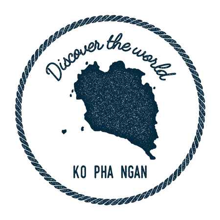 Ko Pha Ngan map in vintage discover the world insignia. Hipster style nautical postage stamp, with round rope border. Vector illustration.