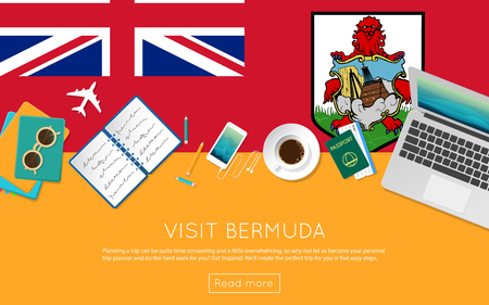 Visit Bermuda concept for your web banner or print materials. Top view of a laptop, sunglasses and coffee cup on Bermuda national flag. Flat style travel planninng website header.