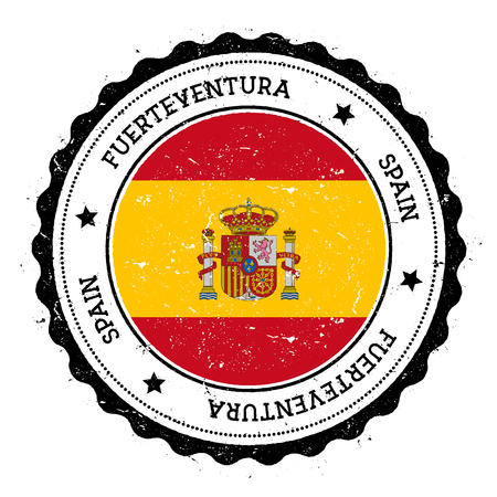 Fuerteventura flag badge. Vintage travel stamp with circular text, stars and island flag inside it. Vector illustration. Illustration