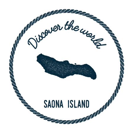 Saona Island map in vintage discover the world insignia. Hipster style nautical postage stamp, with round rope border. Vector illustration. Ilustração