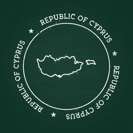 White chalk texture rubber seal with Republic of Cyprus map on a green blackboard. Grunge rubber seal with country outlines, vector illustration.