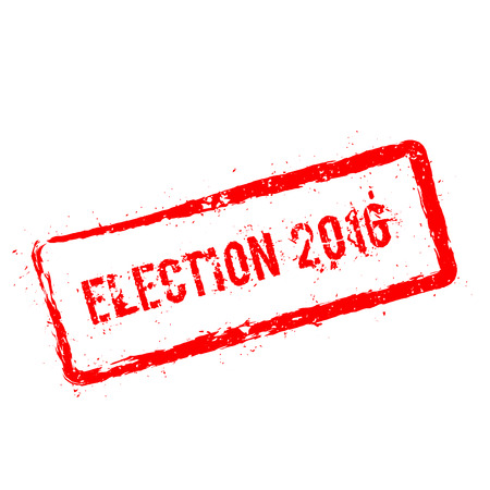 Election 2016 red rubber stamp isolated on white background. Grunge rectangular seal with text, ink texture and splatter and blots, vector illustration.