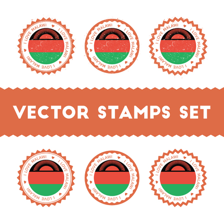 I Love Malawi vector stamps set. Retro patriotic country flag badges. National flags vintage round signs. Illustration