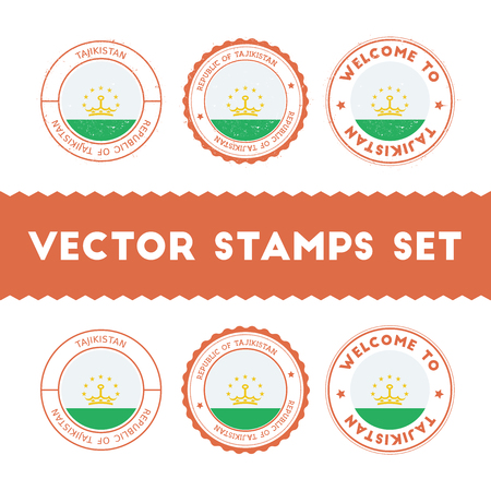 Tadzhik flag rubber stamps set. National flags grunge stamps. Country round badges collection. Illustration
