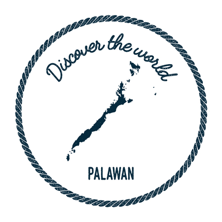 Palawan map in vintage discover the world insignia. Hipster style nautical postage stamp, with round rope border. Vector illustration.