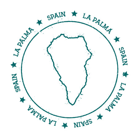 La Palma vector map. Distressed travel stamp with text wrapped around a circle and stars. Island sticker vector illustration.