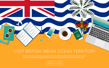 Top view of a laptop, sunglasses and coffee cup on British Indian Ocean Territory national flag.