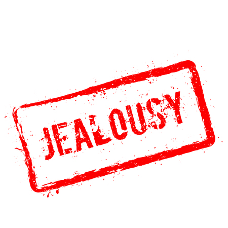 Jealousy red rubber stamp isolated on white background. Grunge rectangular seal with text, ink texture and splatter and blots, vector illustration. Vettoriali