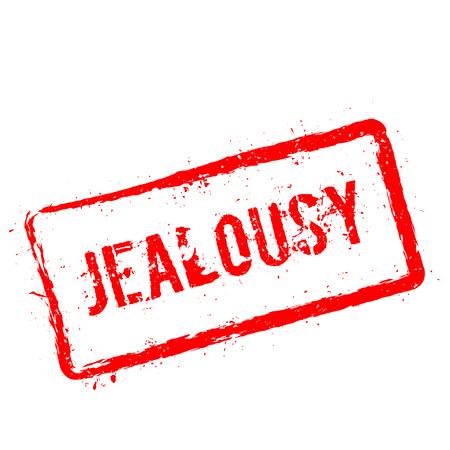 Eifersucht roter Stempel lokalisiert auf weißem Hintergrund. Grunge rechteckiges Siegel mit Text, Tintentextur und Spritzer und Flecken, Vektorillustration.