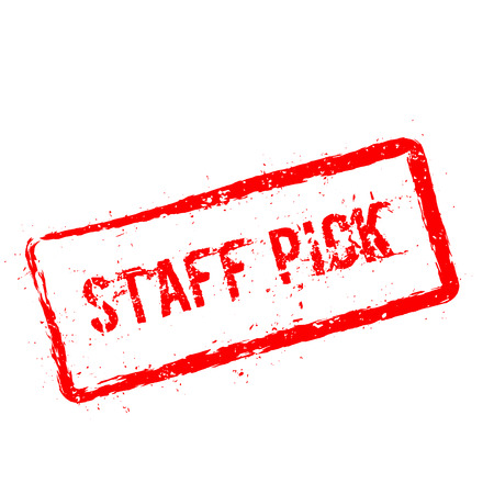 Staff pick red rubber stamp isolated on white background. Grunge rectangular seal with text, ink texture and splatter and blots, vector illustration. Illustration