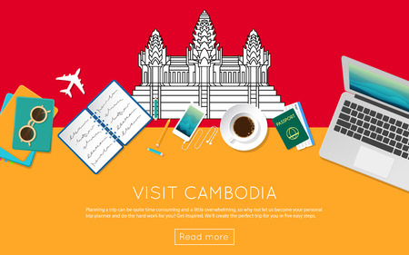 Visit Cambodia concept for your web banner or print materials. Top view of a laptop, sunglasses and coffee cup on Cambodia national flag. Illustration