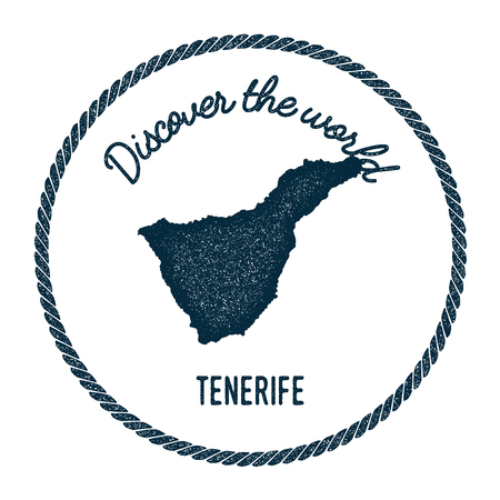 Tenerife map in vintage discover the world insignia. Hipster style nautical postage stamp, with round rope border. Vector illustration.