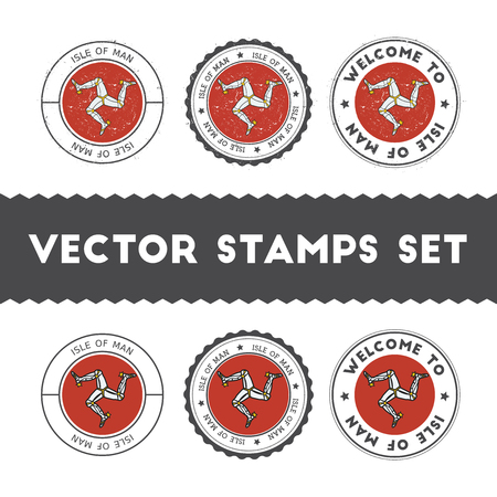 Manx flag rubber stamps set. National flags grunge stamps. Country round badges collection.