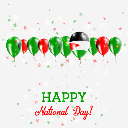 Palestine, State of Independence Day sparkling patriotic poster. Happy Independence Day Card with Palestine, state of flags, confetti, stars, and glitter. Illustration