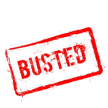 Busted red rubber stamp isolated on white background. Grunge rectangular seal with text, ink texture and splatter and blots, vector illustration. Illustration