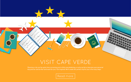 Visit Cape Verde concept for your web banner or print materials. Top view of a laptop, sunglasses and coffee cup on Cape Verde national flag. Flat style travel planninng website header.